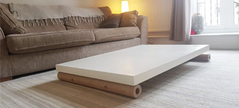 Coffee table folded for storage
